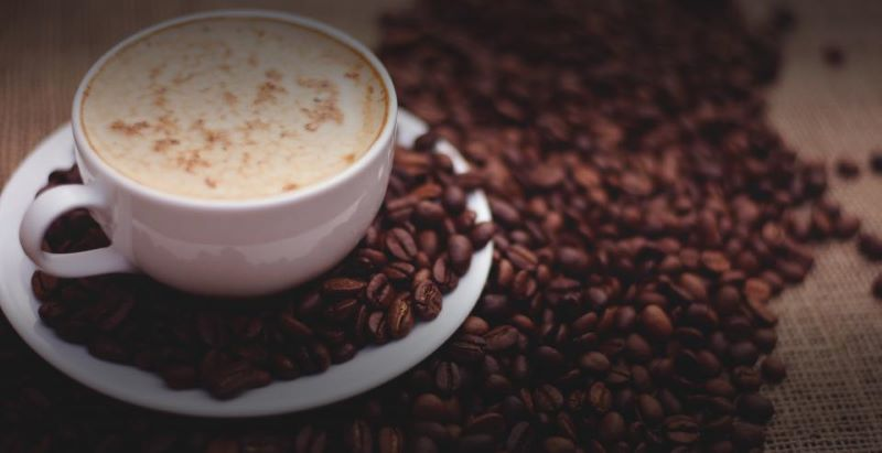 The best coffee beans on a table next to a cup of coffee