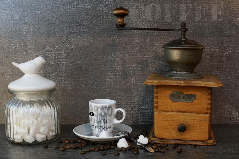 Coffee Grinder with Cup and Sugar Cube